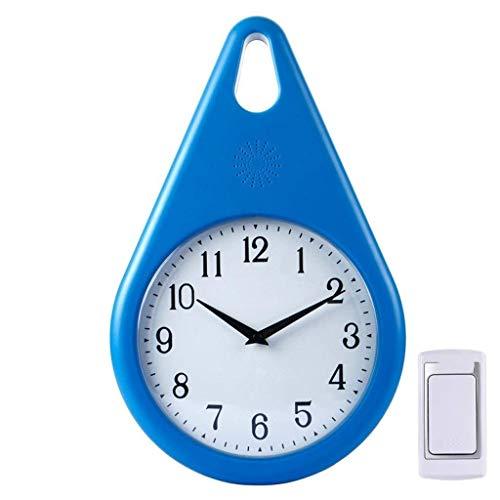 WYZQ Timbre de Puerta Timbre inalámbrico 2 en 1 Sala de Estar Reloj de Pared silencioso Control Remoto Timbre inalámbrico Timbre Abierto de Puerta (Azul), Disyuntores