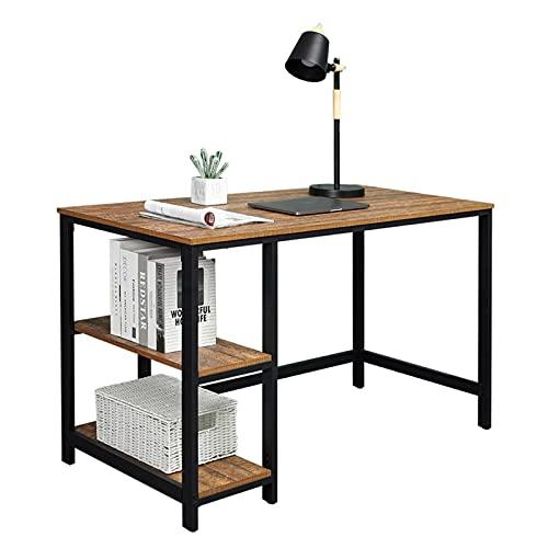 JYXJJKK Escritorio de escritorio de oficina de hierro y madera de grano antiguo con unidad de almacenamiento extraíble de doble capa