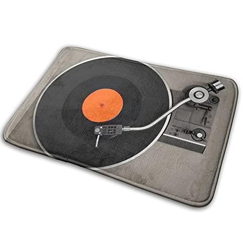 Best& Alfombra de baño, 15.7 x 23.6 pulgadas, reproductor de discos vintage con discos de vinilo, antideslizante, alfombrilla de baño, accesorios para cocina, sala de estar, sofá, almohadilla para pie