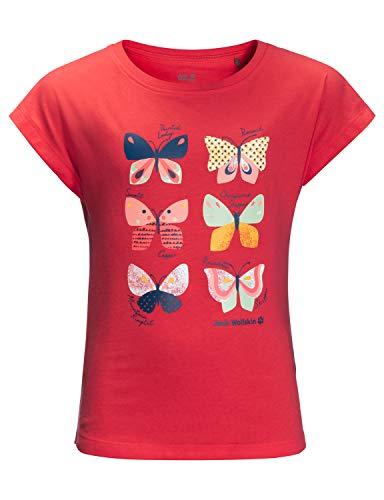 Jack Wolfskin Mädchen Butterfly T Girls T-Shirt, Tulip Red, 152