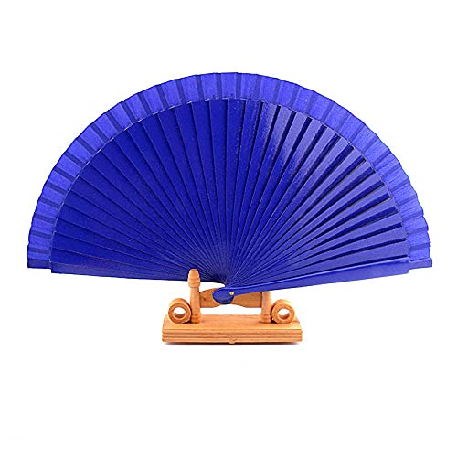 wangYUEQ Rendimiento de Danza Ventilador de Madera Vidrio de Ropa de Boda Accesorios Plegables Pintado a Mano-Blanco (Color : Royal Blau)
