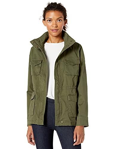 Amazon Essentials Women's Zip Up Utility Jacket, Dark Olive, S