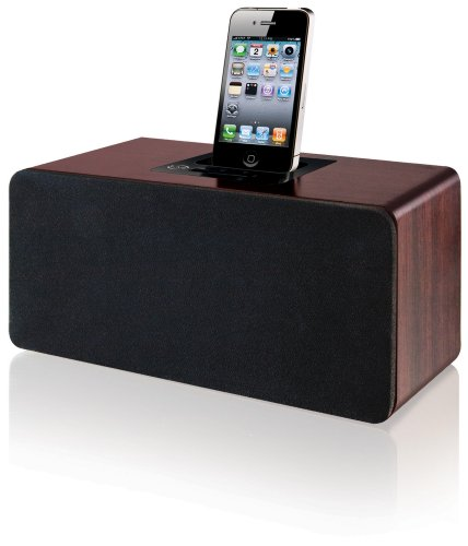 iLive 2.1 Channel Cherry Wood Speaker with Dock for iPod and iPhone (Brown)