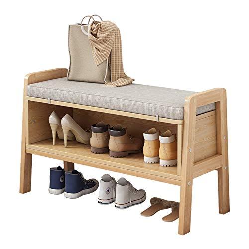 Cambio de Taburete de Zapato Entrada de banco con banco de almacenamiento para zapatos para zapatos Banco de madera Dormitorio de almacenamiento de zapatos, sala de estar, pasillo, garaje Estante de Z