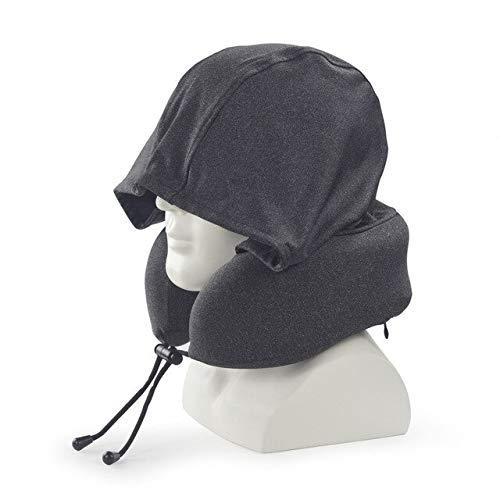 VGZ Almohadas de Cuello de Espuma de Memoria en Forma de U de Viaje Almohada en U con Capucha Soporte para el Cuello Cojín del reposacabezas Cojín de Lactancia Suave AlmohadaNegro