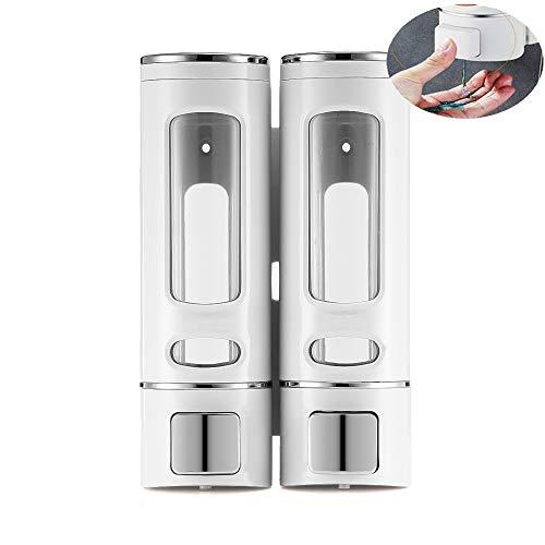 OurLeeme Dispensadores de jabón, Dispensador de jabón líquido Manual de Pared Dispensador de jabón Transparente para baño de Hotel en casa (2 Cabeza)