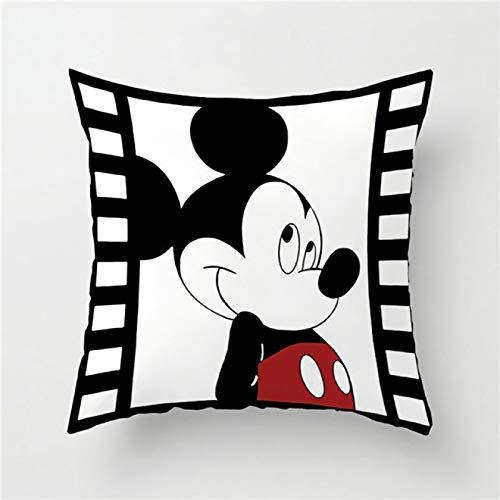 DLYWLCC Cojines para sofá 4 piezas Disney Mickey Mouse Minnie suave fundas de almohada para el hogar textiles blanco pareja funda decorativa