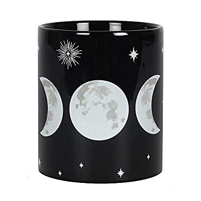 Mug - Ceramic Tea/Coffee - Triple Moon Mug - Black Gothic Wicca Witchcraft Pagan Mug
