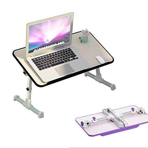 Pkfinrd Laptop/bureau/klein draagbaar voor bed, permanent WorkBenz, slaapbank, ontbijtdienblad, in hoogte verstelbaar, hoek verstelbaar, opvouwbaar, USB-koelsysteem Blacka8 Without Fan