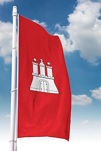 Deitert Bundesland-Flagge Hamburg – 80x200 cm Hamburg Fahne im Hochformat, Hissfahne aus reißfestem Polyester