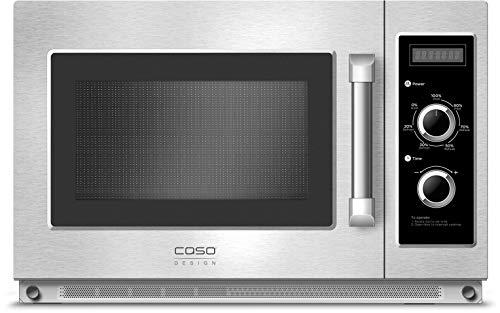 Caso C2100M Gewerbe-Mikrowelle mit Keramikboden, 2100 Watt, 34 Liter, 7 Leistungstufen, Edelstahl Garraum 36x23x41 cm