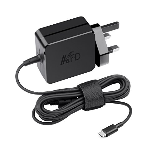 KFD 5V3A 9V3A 12V3A 15V3A 20V2.25A USB-C Laptop Charger for New MacBook Pro, Acer Spin 311 CP311 R13 CB5-312T 315 CB315-2H, Lenovo IdeaPad 3 11.6Inch Chromebook Power Adapter Type C UK Mains Leads