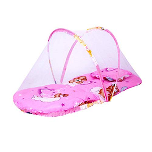 Thole Cuna Cama Plegable PortáTil para Bebé con Transpirable ExtraíBle para Viajes Apto para 0-2 AñOs,Pink