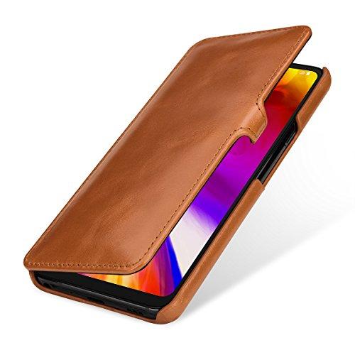 StilGut Book Type Lederhülle für LG G7 ThinQ. Seitlich klappbares Flip-Hülle aus Echtleder, Cognac mit Clip