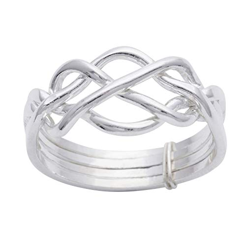 Silverly Women's Men's .925 Sterling Silver Traditional Celtic Knot Twist Four Band Puzzle Ring