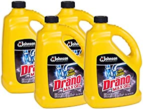SC Johnson Professional DRANO Max Gel Dain Clog Remover and Cleaner, Unclogs and Removes Hair, Soap Scum, Bloackages, 128 oz- Pack of 4