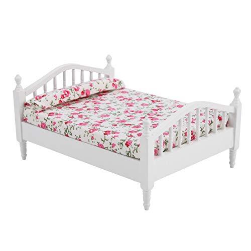 Zwindy Casa de muñecas, Cama Doble, Mini Muebles con diseño de Flores, Cama Doble, Kits de casa de muñecas, Cama de diseño Retro Vintage para muñeca a Escala 1/12