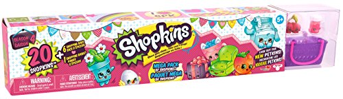 Shopkins Season 4 Mega Pack Bundle of 20 Shopkins, 6 Shopping Bags, 1 Shopping Basket and 1 Collectors Guide