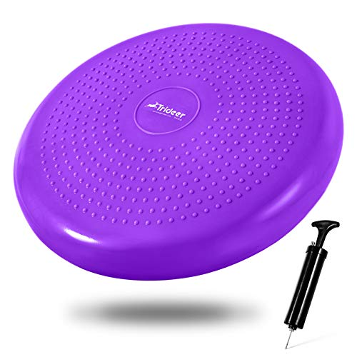 Trideer Inflated Wobble Cushion - Flexible Seating Classroom (Extra Thick), Core Balance Disc (Multiple Colors), Wiggle Seat for Sensory Kids (Office & Home & School)