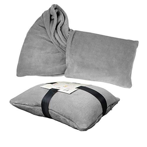 Delindo Lifestyle® Manta 2 en 1, 135 x 200 cm, suave y mullida, almohada de viaje convertible en manta de viaje para mujeres, hombres y niños., gris, 135 x 200 cm,