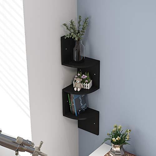 3 Ablagen Wandregal Eckregal Schweberegal Zickzackregal Holz Schwarz für Küche, Schlafzimmer, Wohnzimmer, Arbeitszimmer, Büro, (3 Ablagen Schwarz)