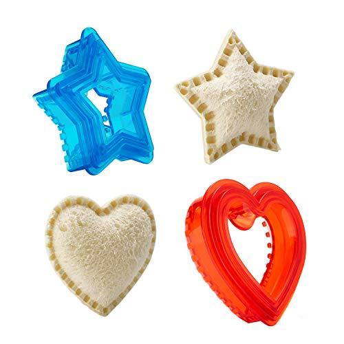 Sandwich Cutter and Sealer for Kids - Heart & Star Shape Decruster Sandwich Maker, 6 PCS (2 Sets)