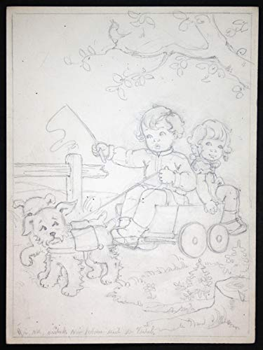 Junge Mädchen Hunde Wagen Bollerwagen Tilly von Baumgarten Original Zeichnung