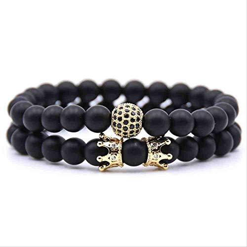 JYHW Groothandel Pave CZ Mannen Armband 8mm Steen Kralen met Keizerlijke Kroon Kraal Bedel Armband voor Mannen Vrouwen Sieraden Goud, Goud