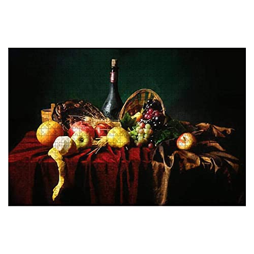 1000 piezas de bodegón holandés clásico con botella polvorienta de vino y frutas en una pieza grande Rompecabezas para adultos Juguete educativo para niños Juegos creativos Entretenimiento Rompecabeza