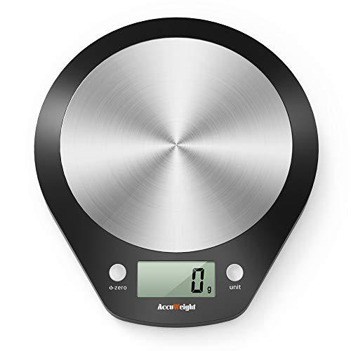 ACCUWEIGHT Báscula de Cocina Digital Balanza Alimentos Electrónica con Plataforma de Acero Inoxidable para Peso de Comida, 5 kg/11lbs
