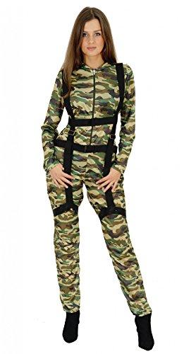 Foxxeo sexy Fallschirmjäger Faschingskostüm für Damen - Größe M - Karneval Bundeswehr Kostüm Militär Tarnkleidung Pilotin Uniform