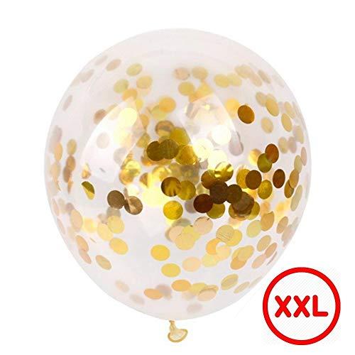 DIWULI, gigantischer XXL Luftballon transparent mit Konfetti zum befüllen (Gelb Weiß), riesen Jumbo Latex-Ballon mit Inhalt, Latexluftballon für Geburtstag, Hochzeit, Feier, Motto-Party, Dekoration