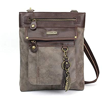 Chala GEMINI Crossbody PU Leather Messenger Bag Grey - Feather