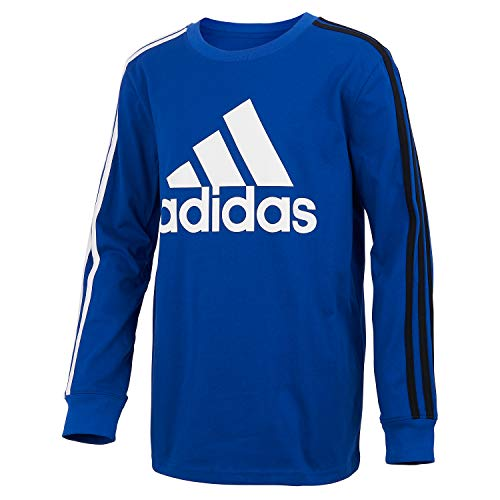 adidas Boys' Long Sleeve Cotton Jersey T-Shirt Tee, BoS Stripe Royal Blue, Large