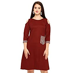 fmania Women Tunic Short Dress for Jeans Plain Diamond Creap Dress Casual Women/Girls Dress Red