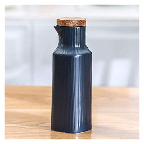 WANGQW El Aceite Puede olivar o vinagre Anti-Fuga, Tabletop Olive Oil Dispenser Bottle-Soy Sauce o vinagre Cruet-Modern Mármol Cena de cerámica Líquido Dispensador de condimentos (Color : Blue)