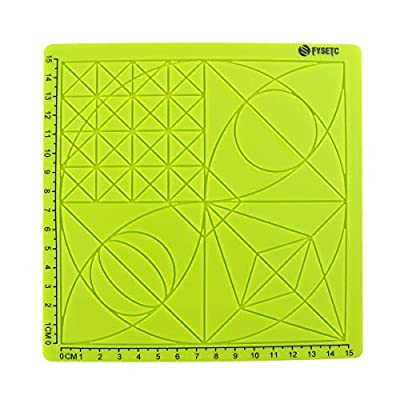 Toaiot 3D Pen Mat Doodle Pad Basic Geometric Template Multi-Purpose Design for Drawing Tools 3D Pen Accessory Drawing Mat for Kid Adults Artist with 2 Silicone Finger Caps-Green Type A