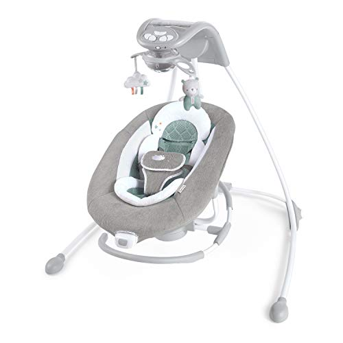 Ingenuity DreamComfort Inlighten Cradling Swing & Rocker - Foldable Plug-in Swing - Pemberton (12321)