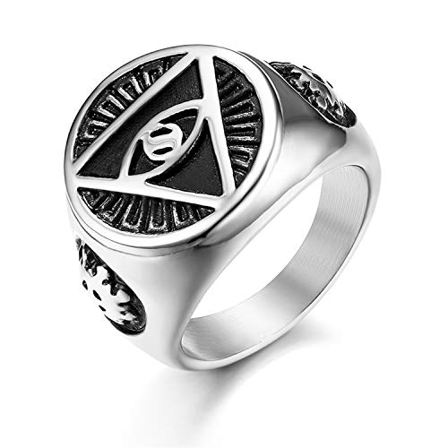 JewelryWe Schmuck Retro Herren-Ring Edelstahl Illuminati Auge der Vorsehung All-Seeing Eye The Eye of Providence Pyramide Ring Siegelring Band Bandring mit Gravur Silber Größe 62