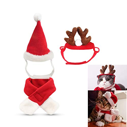fast and good IXIAOPET Cat Santa Christmas Hat + Muffler + Elk Antler Reindeer Hat, Head Wear Accesories Christmas Costume Outfits for Pet Dog Cat Rabbit(Pack of 3 Pcs)