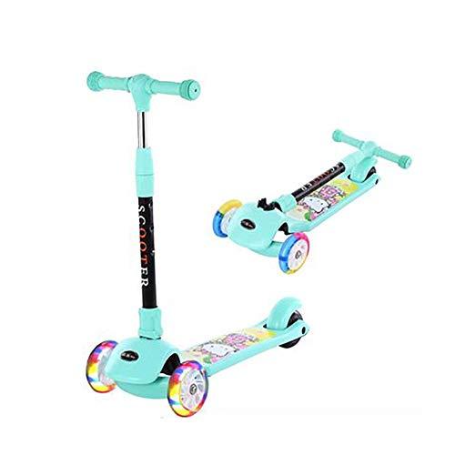 GAOTTINGSD Patinete Freestyle para niños, patinete de tres ruedas, altura ajustable 65 cm ~ 80 cm, hasta 80 kg, color verde
