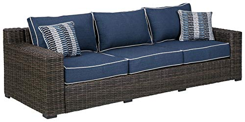 Signature Design by Ashley Grasson Lane Outdoor Wicker Patio Sofa with Pillows, Brown & Blue