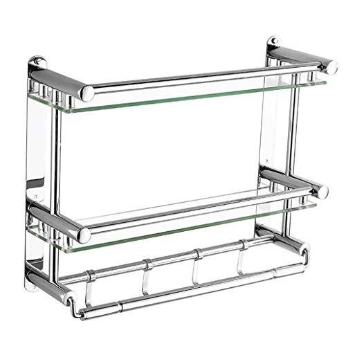 XZJJZ Badezimmer Regal mit Handtuch Bars, Chrom-Badezimmer-Regal, Hause WC Double Layer Lagerung Regal, Nichtrostender Chrom-Regal, (Größe: 50 * 38 * 15,5 cm) (Size : 50cm)