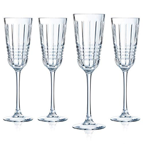 Cristal d'Arques L8234 Rendez-Vous Sektgläser 4er Set aus hochwertigem Kristallglas, Champagner-Gläser, 17 cl, dickwandig und robust, Kwarxglas