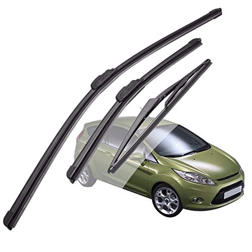 LJVHDSJT Limpiaparabrisas para Ford para Fiesta MK Vi 2008 2009 2010 2011 2012 2013 2014 2015, 3 Piezas, Juego de escobillas de limpiaparabrisas Delantero y Trasero de Coche