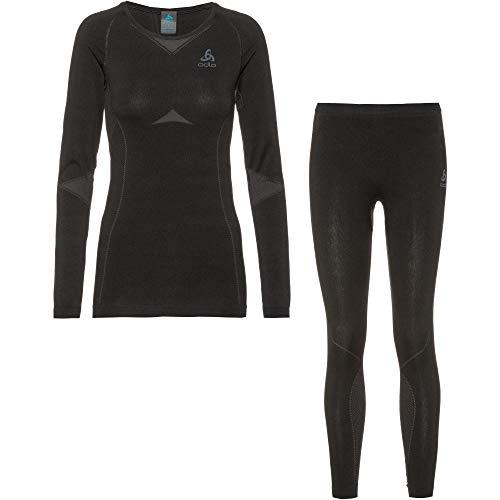 Odlo Damen Performance Evolution Warm Thermo Set, Black Graphite Grey, M