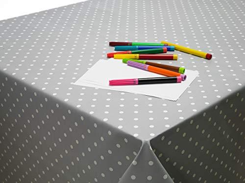 """Jolee Fabrics - Mantel de PVC y Hule (fácil de Limpiar), Color Gris, algodón, Vinilo de PVC de Lunares, Color Gris, 140cm x 200cm (55"""" x 79"""") Rectangle"""