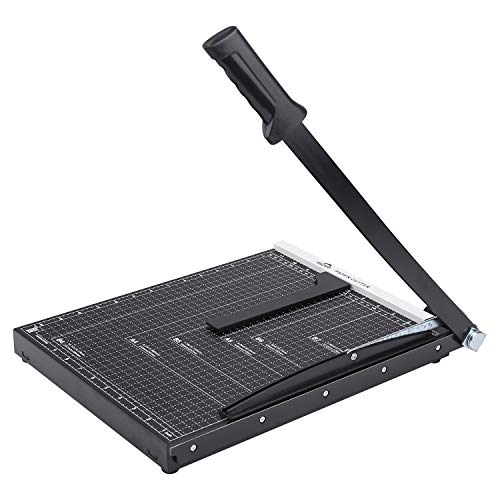 ISDIR Paper Cutter Guillotine, 15 Inch Paper Cutting Board, 12 Sheets Capacity, Heavy Duty Metal Base, Dual Paper Guide Bars, Professional Paper Cutter and Trimmer for Home, Office (15'' Black)
