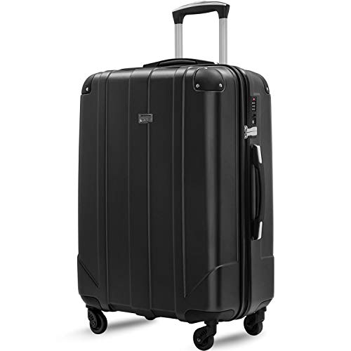 Merax Hardside Spinner Luggage with Built-in TSA and Reinforced Corners, Eco-friendly P.E.T Light Weight Carry-On 20' 24' 28' Suitcases (28-inch, Black)