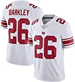 XIKONG New York Giants Rugby Jersey Barkley # 26, Sportswear Sports Short Sleeve Rugby Jersey, Maillot de compétition pour Les Jeunes-White-M